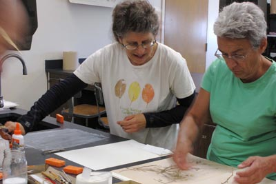 Two women mounting herbarium specimens