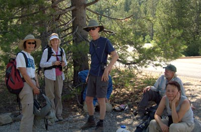 Mt. Lassen Car Camp, six people in the shade of a tree. Photo taken by Carolyn Dorsch